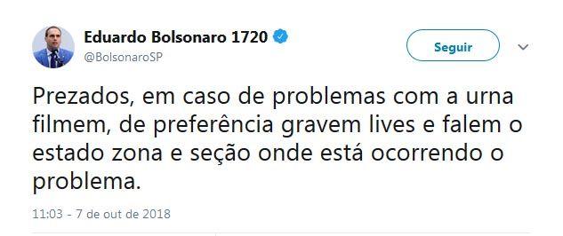 Eduardo Bolsonaro pede que eleitores filmem voto