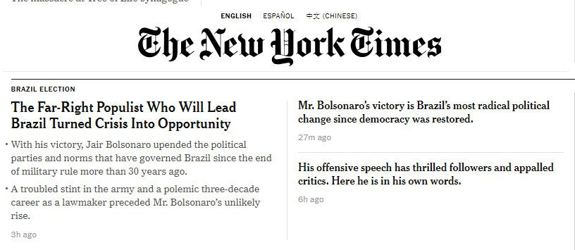Bolsonaro no The New York Times