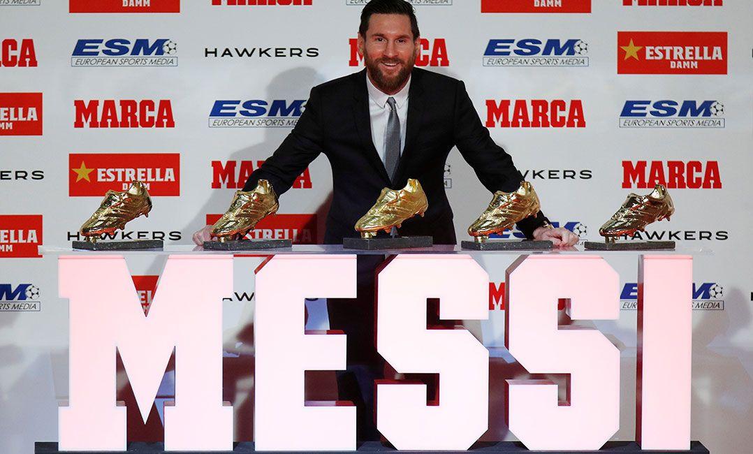 Máximo goleador do Espanhol, Messi recebe a sua 5ª Chuteira de Ouro