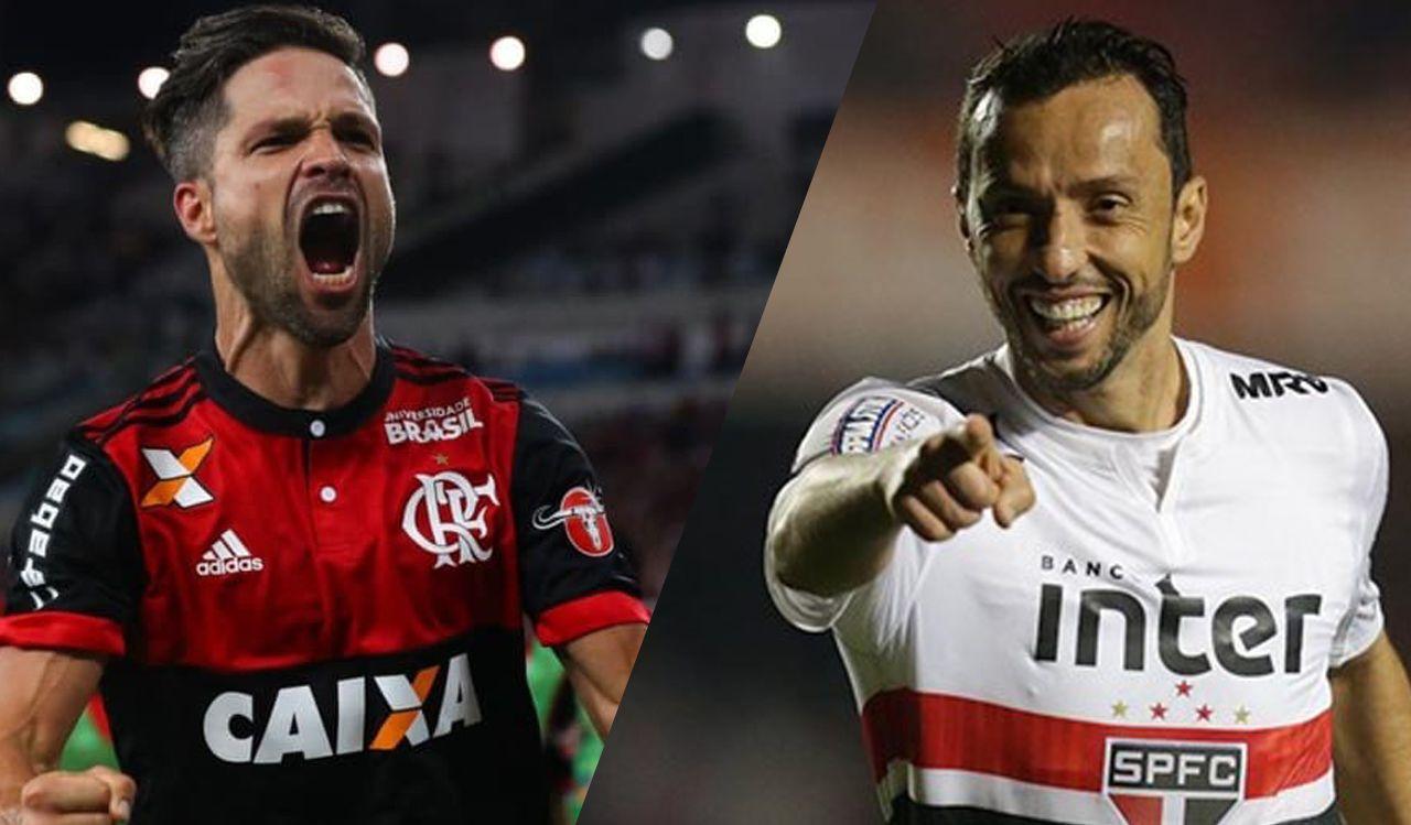 Diego do Flamengo e Nenê do São Paulo são os craques das equipes / Divulgação