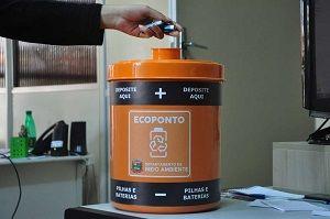 Local disponibilizado para o descarte de pilhas e baterias / Divulgação/Prefeitura de Caçapava