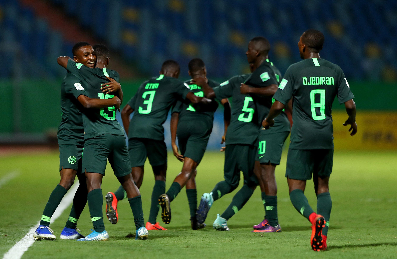 Nigéria comemorando gol contra a Hungria / Divulgação / FIFA
