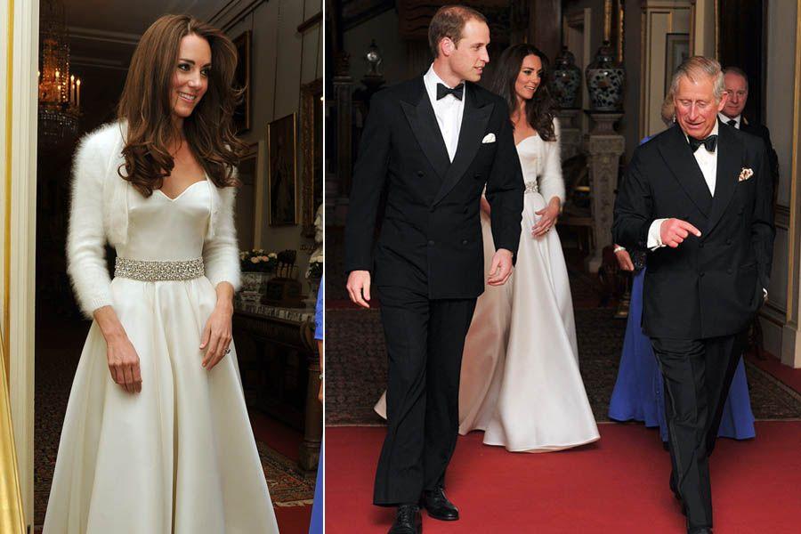Kate arrematou o look para a recepção com um cinto de pedras