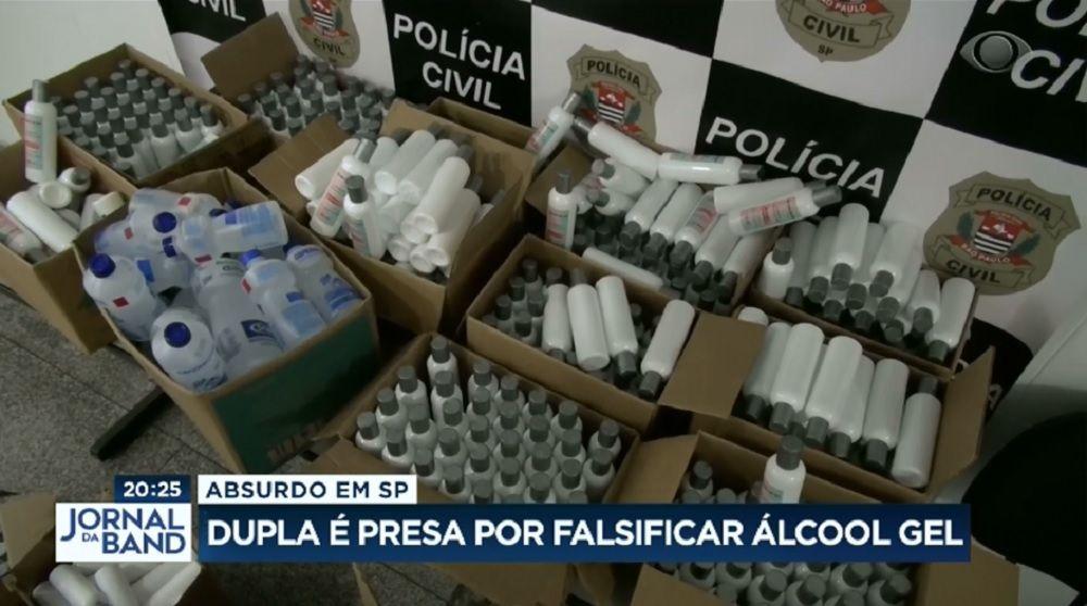 Dupla é presa por falsificar álcool gel na Grande São Paulo