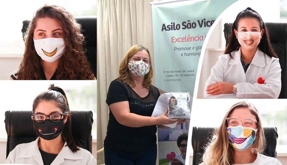 Projeto de Curitiba doa máscaras com sorrisos para comunidades e hospitais