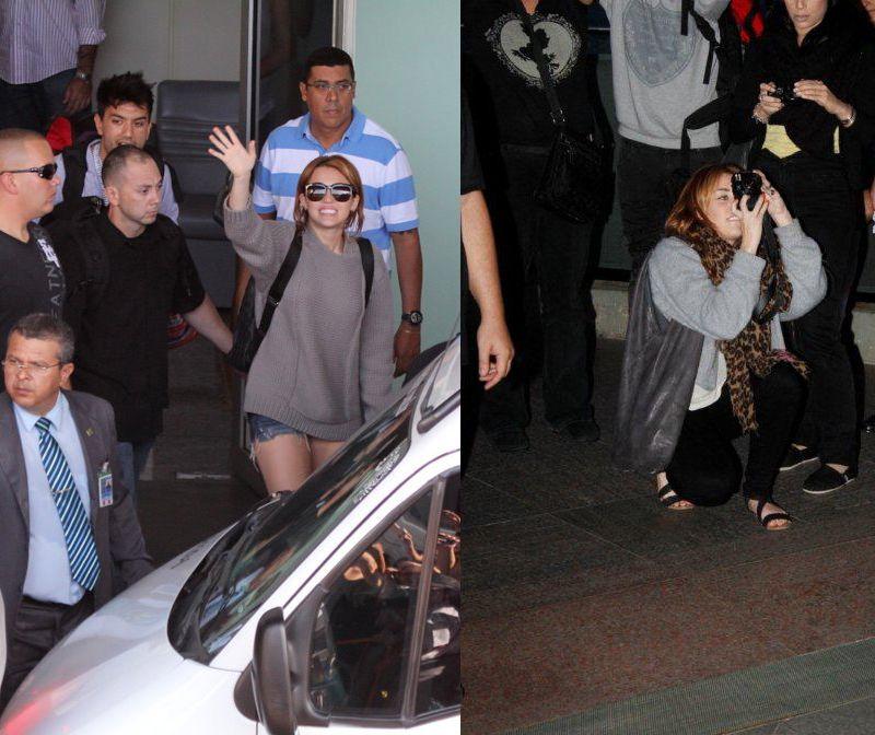 Miley Cyrus fica boquiaberta com a recepção. Horas depois a cantora segue para o Cristo Redentor