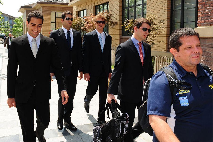 Vinicius Walked, Henrique Barbosa, Cesar Cielo e Marcelo Franklin chegam para julgamento  / Mark Ralston/ AFP