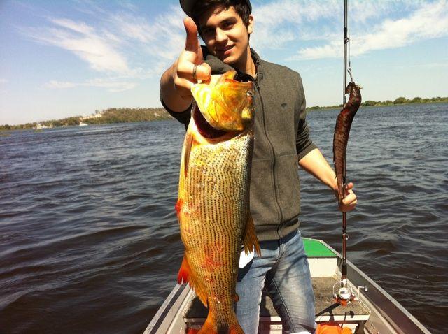 Luan Santana exibe resultado da pescaria / Divulgação/Twitter