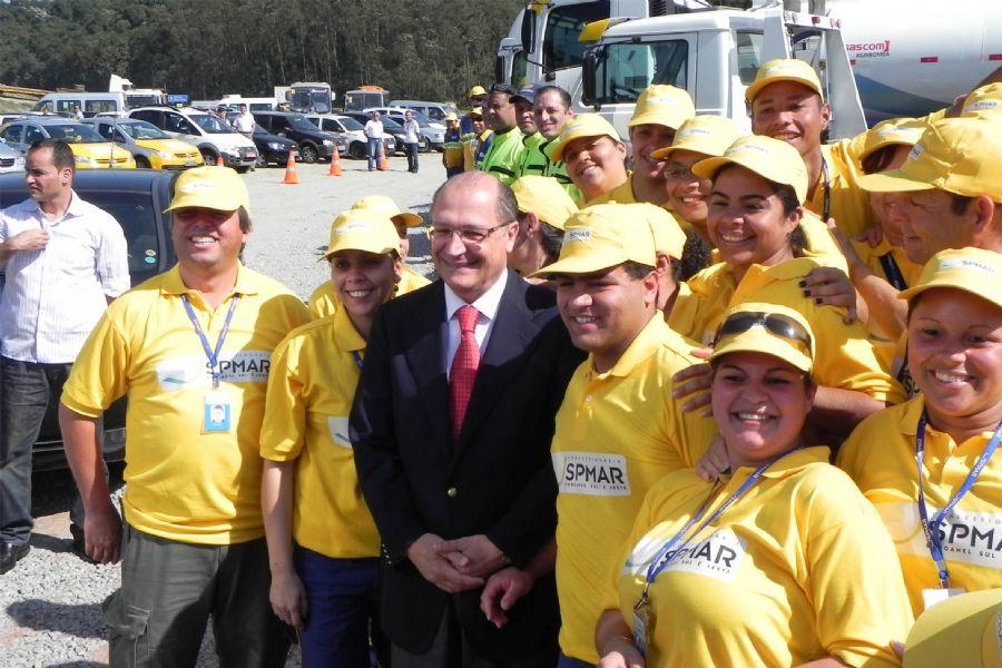 O governador de São Paulo Geraldo Alckmin autorizou nesta manhã o início das obras do Trecho Leste do Rodoanel Mario Covas / Edu Silva/ AFP