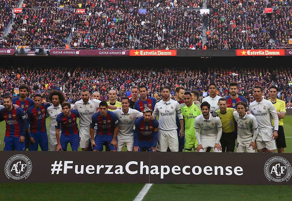 Futebol europeu homenageia a Chapecoense
