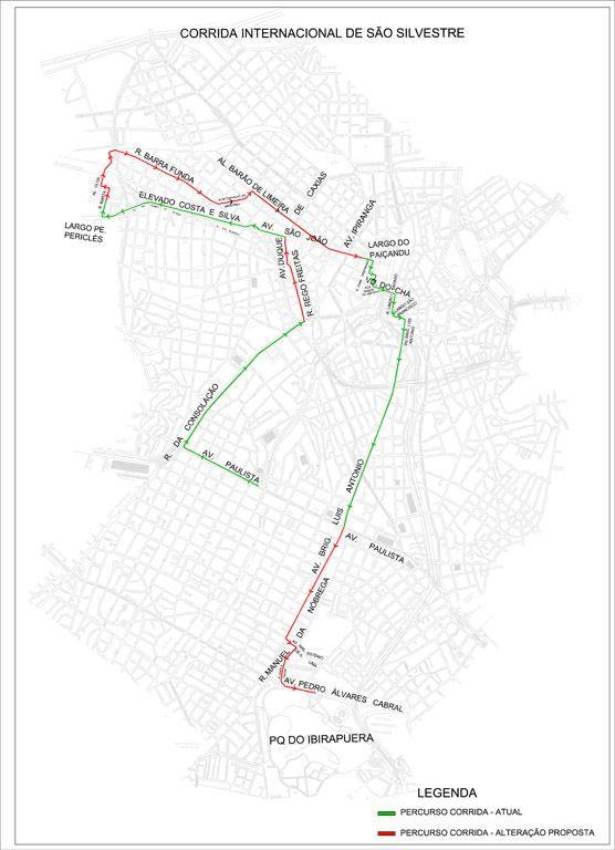 Mapa com as alterações para a prova de 2011 / Divulgação/CET