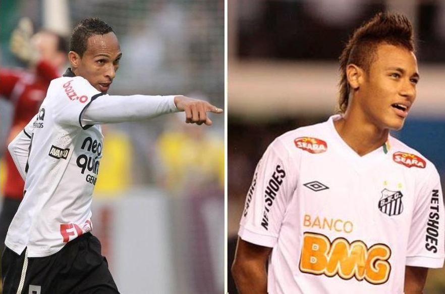 Liedson trava duelo de atacantes com Neymar: Santos desafia tabu no Pacaembu / Evelson de Freitas/AE e Ricardo Saibun/Santos FC