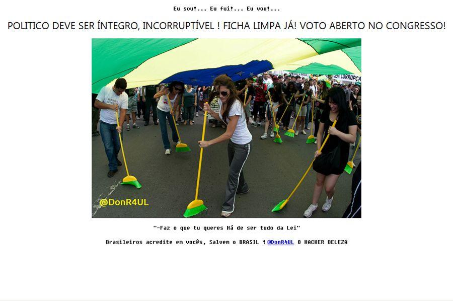 Foto e mensagens contra a corrupção foram colocadas na página principal do Blog do Planalto / Reprodução