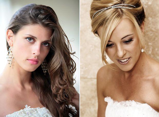 Brincos maiores também combinam melhor com noivas de cabelo solto