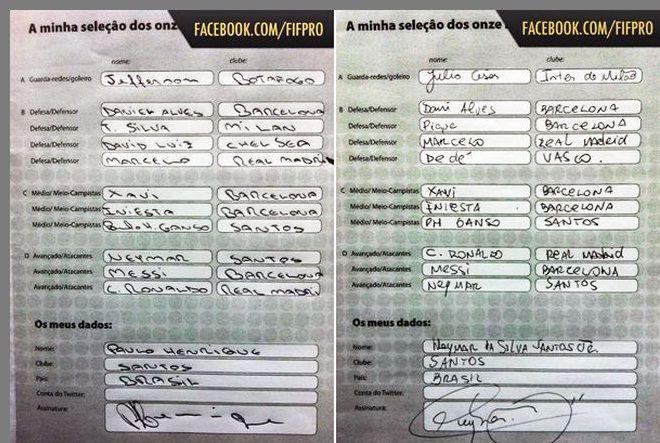 Neymar e Ganso se elegem em seleção