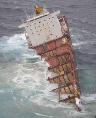 Navio não resistiu à força da tempestade