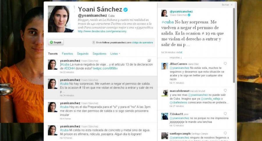 Blogueira divulgou no Twitter a negativa do governo cubano / Reprodução/Twitter