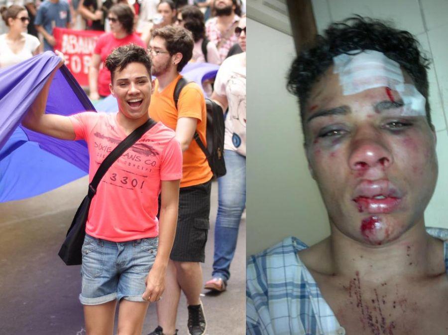 Imagens de Willian na marcha do Fórum Social e após agressão correm nas redes sociais / Reprodução/ Facebook