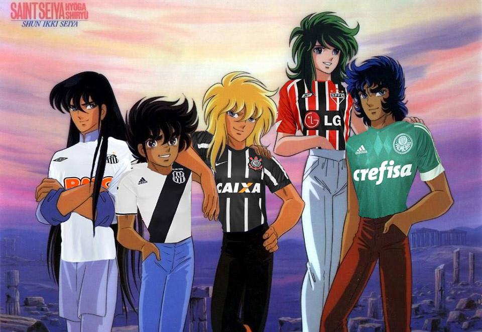 8f4c90d797b57 Montagens de personagens de animes com camisas de times de futebol fazem  sucesso no Facebook através
