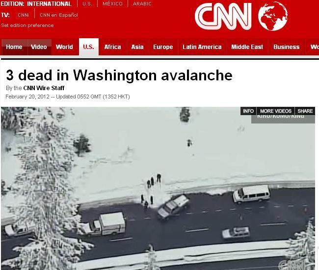 Avalanche deixou mortos e desaparecidos nos EUA / Reprodução/CNN