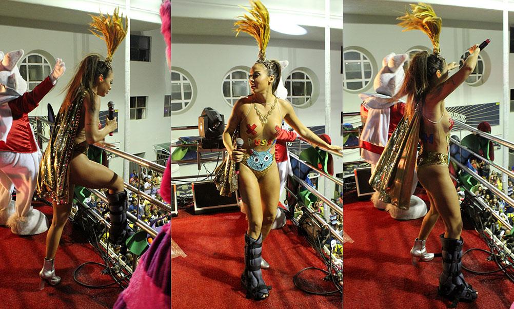 Alinne Rosa se apresenta em trio elétrico com pé imobilizado