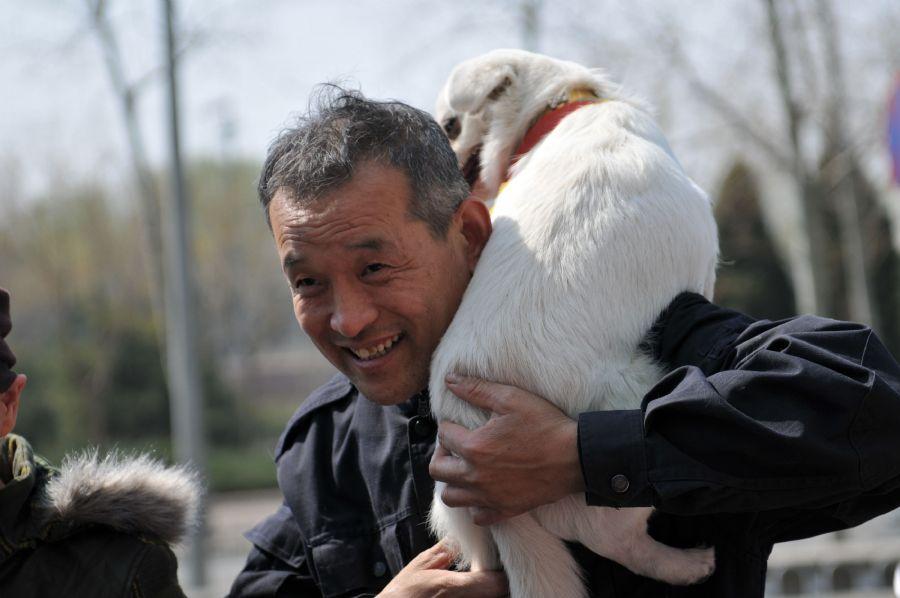 Chinês carrega cão para adoção em feira de conscientização animal, em Pequim  / China Out/AFP