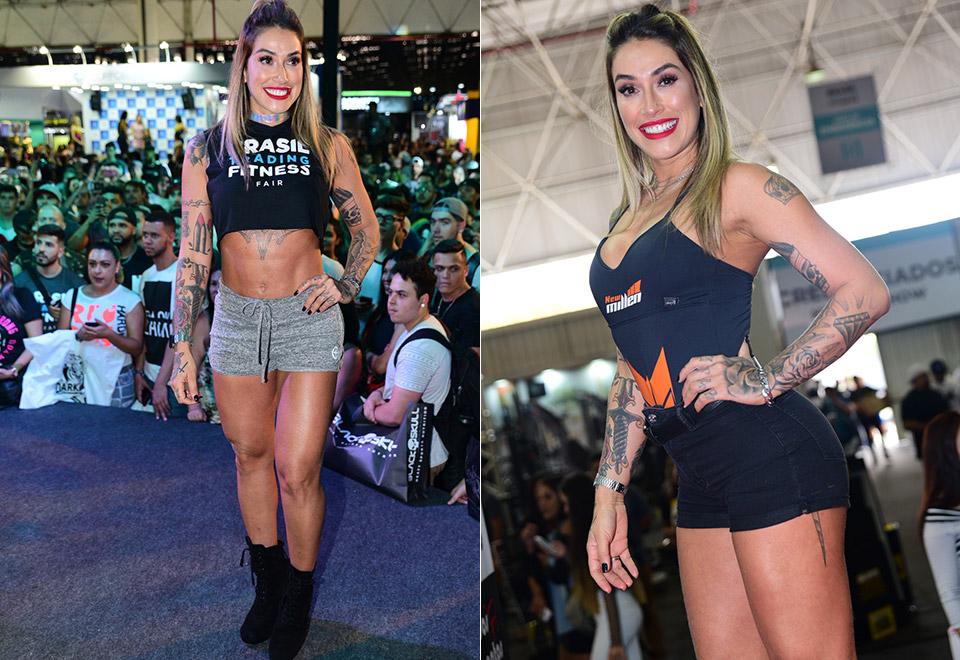 Famosos prestigiam feira fitness em São Paulo