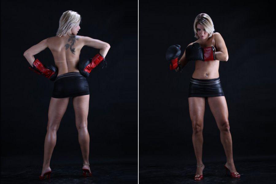 A moça demonstrou toda a sua força em um ensaio inspirado no boxe