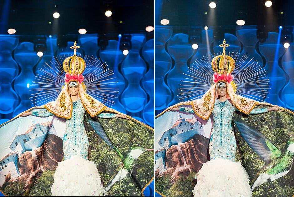 Miss Espírito Santo, Amanda Recla, o traje representa Nossa Senhora da Penha, cujo convento é ponto turístico do Estado